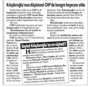 CHP KONGRE TAKVİMİ 2 MAYIS 2017 TARİHLİ YAZI KUPÜRÜ